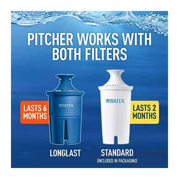 """Brita Small 5 Cup Metro Water Pitcher with Filter - BPA Free 7 SMALL WATER PITCHER: This small, plastic water filtration pitcher is easy to pour and refill. The space efficient pitcher fits perfectly on refrigerator shelves and is great for families. Height 9.8""""; Width 4.45""""; Length/Depth 9.37""""; Weight 1.39 pounds CLEANER AND GREAT TASTING: The BPA free Brita filter reduces chlorine (taste and odor), copper, mercury, zinc and cadmium impurities found in tap water for cleaner great tasting water. *Substances reduced may not be in all users' water FILTER CHANGE REMINDER: For optimum performance, a helpful status indicator on your filtered water pitcher notifies you when your water filter needs to be replaced"""