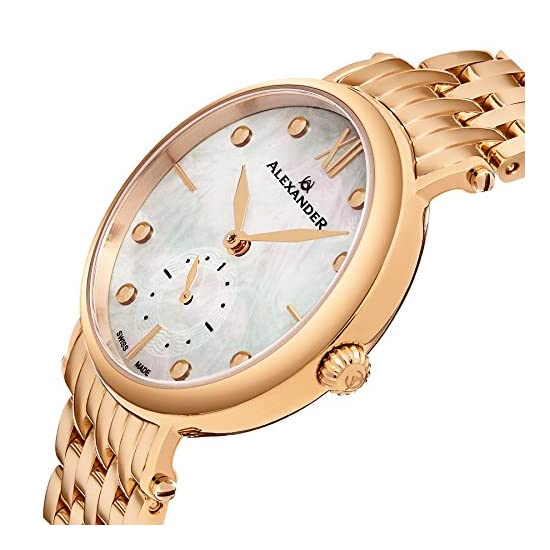 Alexander Monarch Roxana White Mother Of Pearl Large Face Stainless Steel Plated Rose Gold Watch For Women Swiss Quartz Elegant Ladies Fashion Designer Dress Watch A201b 03 Best Price Shop By Wholetechnics
