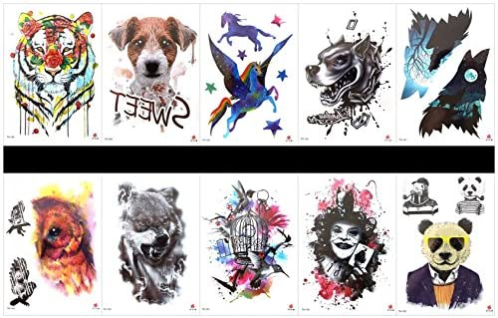 Interookie - 10 pegatinas de tatuaje falsas para tatuajes ...