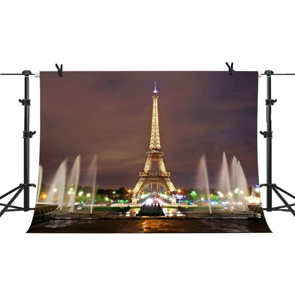 7x5ft Eiffel Tower Backdrop Musical Fountain Photography Background Wedding YouTube Theme Birthday Party Backdrops Studio Props PHMOJEN GEPH001