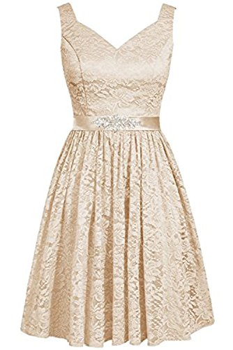 DressyMe Women's 2018 Short Lace Bridesmaid Party Dress Sash Sweetheart A-line-6-Light Champagne ()