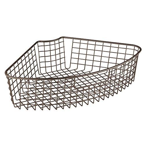 InterDesign Lazy Susan Wire Storage Basket with Handle fo...