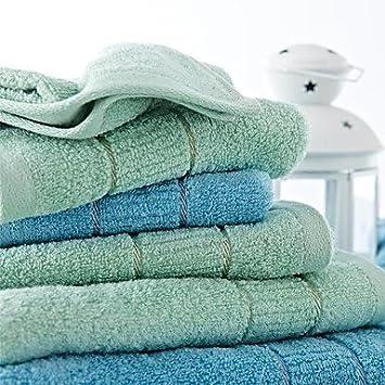 AxP - , lote de toallas de mano, diseño de azul claro o verde geométrico 100% algodón toalla de mano azul claro: Amazon.es: Hogar