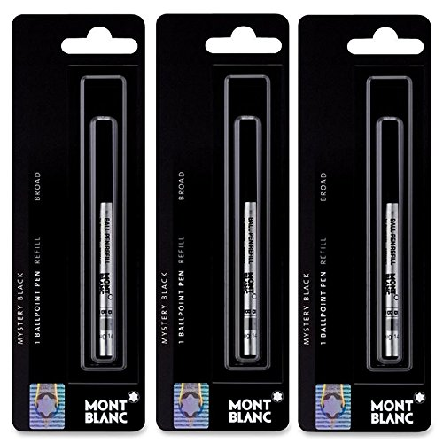 3 - Montblanc Ballpoint Pen Refills - Mystery Black - Broad Point ()