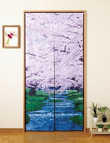 """Noren(Japanese curtain) Cherry Blossoms and River"""" Import from Japan 21548 from Tortus"""