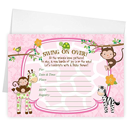 Fill in the Blank Baby Shower Invitations Zebra Tiger Monkey Jungle (Pink Safari Baby Shower Invitations)