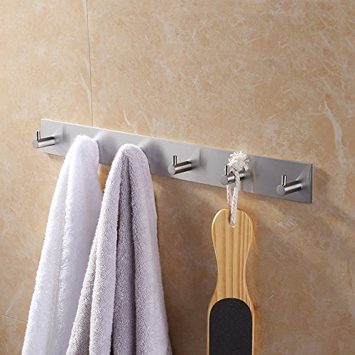 KES Self Adhesive Hooks Rail STAINLESS STEEL 6-Hook Rack Bath Towel Hook Sticky Bathroom Kitchen Towel Multi Hanger Brushed Finish, A7060H6