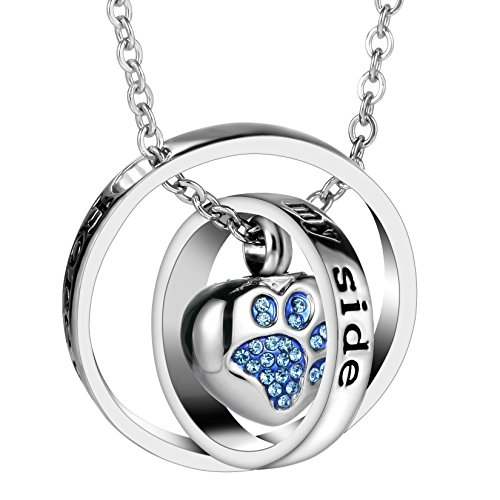 (Women Double Rings Cremation Urn Necklace for Ash Urn Jewelry Memorial Pendant with 20