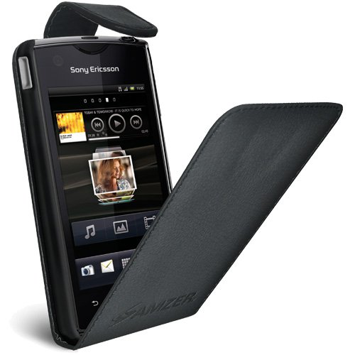 Amzer AMZ92925 Flip Case for Sony Ericsson Xperia Ray - 1 Pack - Retail Packaging - Black (Case Sony Phone Ericsson)