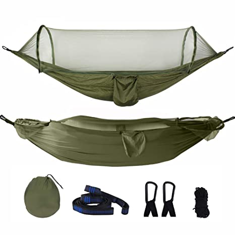 Portable Camping Hammock Tent with Tree Straps Hiking Anti-Mosquito Parachute Hammock for Backpack Outdoor Living Express Hammocks with Mosquito Net