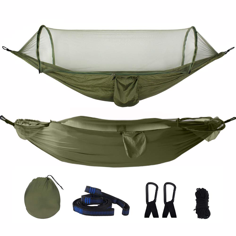 Living Express Large Camping Hammocks with Mosquito Net 2 Person - Portable Swing Hammock Bed with Tree Straps - Anti-Mosquito Parachute Hammock for Outdoor, Backpack, Backyard (Army Green)