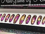 Lava Splashed Foil Nails Hand Designed Nails Fake Nails False Nails Nail Set Foil Hot Pink and Gold Nails Press on Nails Glue on Nails Fake Nails