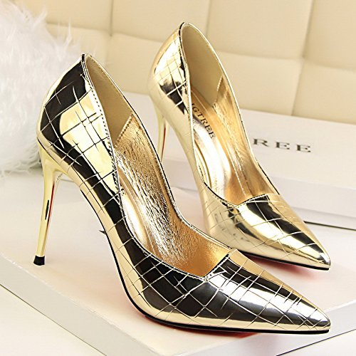 Shoes Mouth Single with Tide zapatos Gold Heeled Pointed de Shallow Shoes with Yukun tacón Golden Versatile High alto Female Autumn Single UFBWaqwS