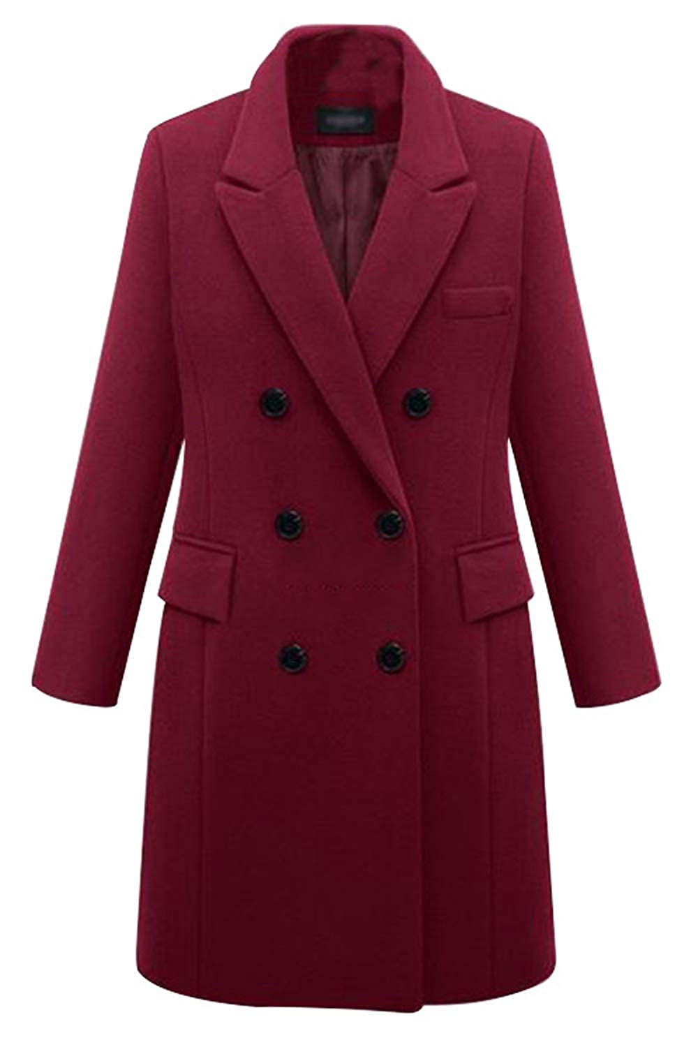 Sevozimda Womens Wool Coat Double Breasted Winter Woolen Long Coats Outwear