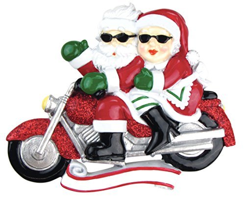 Motorcycle Ride Couple Mr & Mrs Claus Personalized Christmas Tree Ornament by Ornaments -  PolarX Ornaments, 2599259
