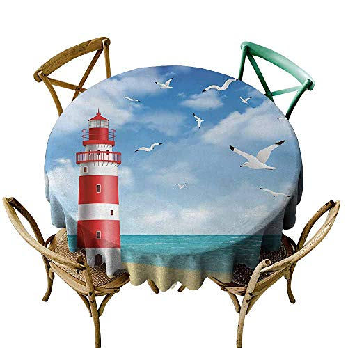 (Zmlove Beach Antifouling Tablecloth Realistic Illustration Lighthouse on Calm Seashore Flying Seagulls Ocean Scenery Washable Tablecloth Vermilion Blue (Round - 47