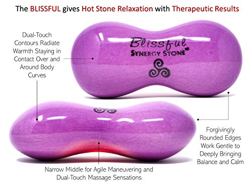Blissful (Amethyst)(Single) Synergy Stone - Contoured Hot Stone Massage Tool - Relaxing and Therapeutic for Neck, Back, Legs, Feet - Ultra-Smooth for Massage on Skin with Oil or Over Clothes
