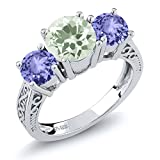 2.02 Ct Round Green Amethyst Blue Tanzanite 925 Sterling Silver 3-Stone Ring