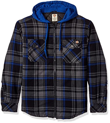Dickies Men's Relaxed Fit Hooded Flannel Overshirt, Charcoal/Satellite Blue, Medium