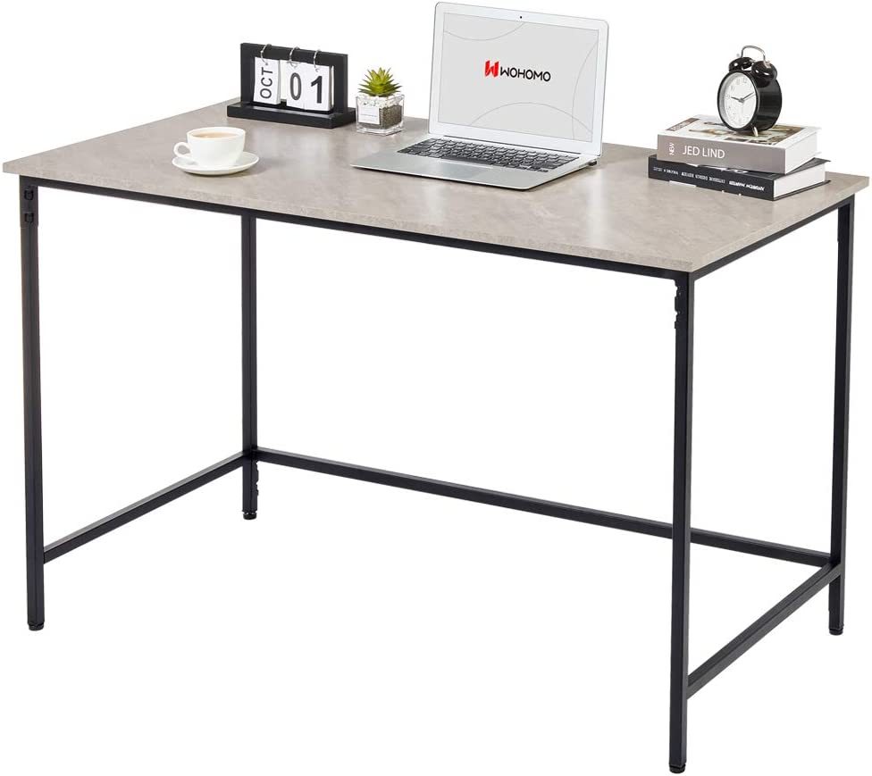WOHOMO Small Computer Desk 39'' Simple Modern Style Study Desk for Home Office, Snap Metal Frame Wood Work Desk Easy Assembly, Gray Marble