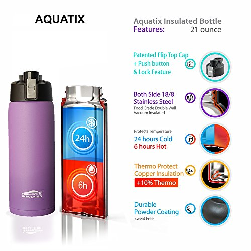 Aquatix (Purple, 21 Ounce) Pure Stainless Steel Double Wall Vacuum Insulated Sports Water Bottle with Convenient Flip Top - Keeps Drinks Cold for 24 Hours, Hot for 6 Hours (Flip Top Drink)