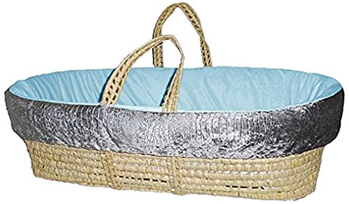 Baby Doll Croco Minky Moses Basket, Grey/Blue by BabyDoll Bedding