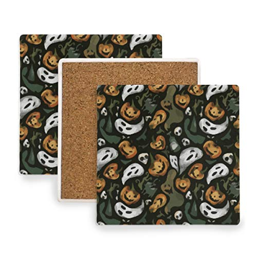 Halloween Party Ghost Pumpkin Ceramic Coasters for Drinks,Square 4 Piece Coaster Set -
