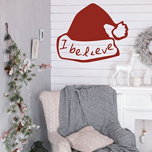 Christmas Wall Decal Decor - I Believe - Santa Claus Hat Vinyl Stickers for Living Room or Home Decoration