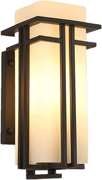 Pantalla de lámpara de pared Farol de pared Moderno y simple Nuevo Chino Al aire libre Impermeable Lámpara de pared de hierro Exterior creativo Pasillo Balcón exterior Jardín Cristal Lámpara de pared: