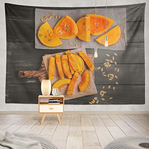 KJONG Halloween-Pumpkin Decorative Tapestry,Halloween Pumpkin Wooden Board Tissue Seeds 60X80 Inches Wall Hanging Tapestry for Bedroom Living Room]()