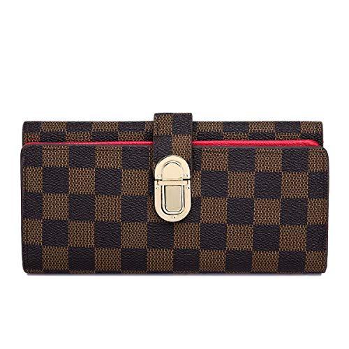 Wallets for Women Genuine Leather Clutch Flower Purse RFID Blocking with Card Holder Organizer (Brown Checkered) ()