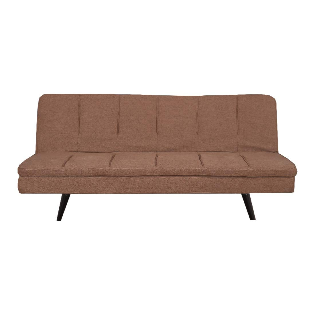 HomeTown Arthur Fabric Sofa Cum Bed in Brown Colour