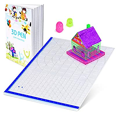 3D Pen Mat with Basic Template, with 3D Pen Books and 2 Silicone Finger Caps, Great 3D Pen Drawing Tools
