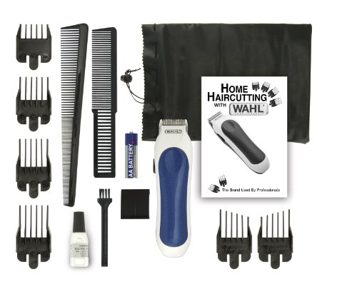 Wahl 9307-1101 Cordless Mini Pro 14 Piece Touch-up and Trim Haircutting Kit, White/blue -