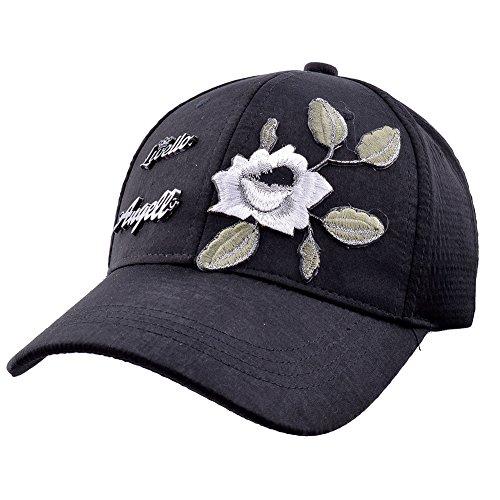a0fbb5b2cb3 Elonmo Cute Big Flowers Womens Baseball Cap Jewel Rhinestone Bling Hats  Jeans Wash Denim Adjustable Gift