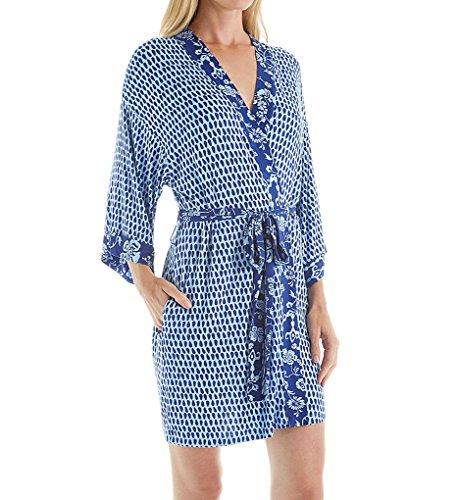 OSCAR DE LA RENTA Pink Label Women's Rayon Spandex Printed Wrap Robe, Blue Year Drop, Large/X-Large ()