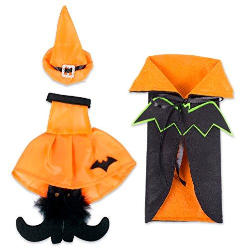 Wine Bottle Halloween Costume - E-Living Halloween Wine Bottle Covers, Black & Orange Bat Cape w/ Orange Witch Outfit