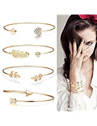 FUNRUN JEWELRY 4 Pcs Alloy Opening Cuff Bracelet Heart Feather Leaf Arrow Shaped Bracelet Bangle for Women Girls Adjustable