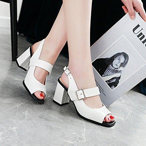 Talon Toe Slingback Femmes Chaussures Haut Cheville Mariage De ALBOC Bride De La Buckle Soirée Open Bloc Sandales à Escarpins White wqIddYt
