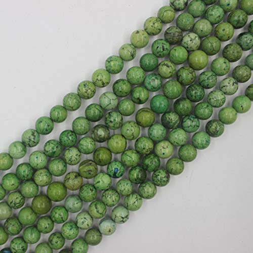 - 10mm Round Green Turquoise Beads Loose Gemstone Beads for Jewelry Making Strand 15 Inch (38-40pcs)