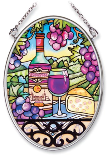 Amia Hand Painted Glass Suncatcher with Great Vintages Wine Country Design, 3-1/4-Inch by 4-1/4-Inch Oval