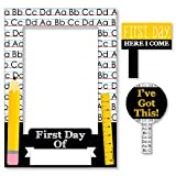 Black, Yellow and White Back To School - First Day and Last Day of School Photo Booth Picture Frame & Props - Printed Double-Sided - 1 Frame & 2 Props