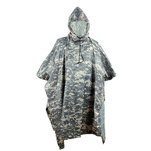 jayslim Multifunction Emergency Camouflage Rain Poncho - Lightweight Slicker Ripstop Rainwear - Perfect for Hiking Hunting Camping (ACU)