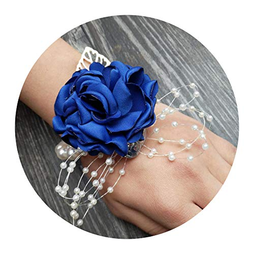 - Silk Rose Flower Groom Boutonniere Bride Wrist Corsage Man Suit Brooch Women Hand Wedding Flowers,Royal Blue Corsage