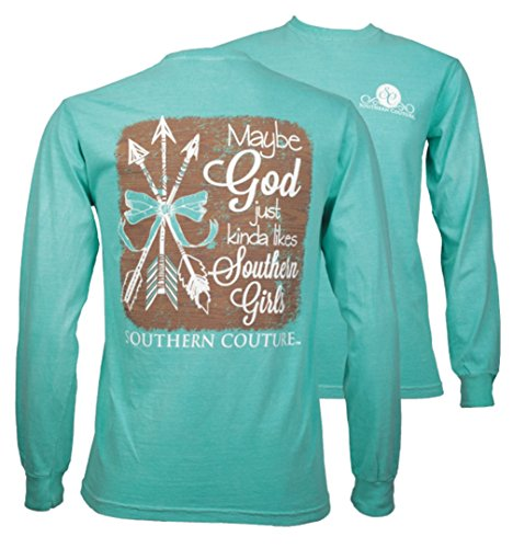 Southern Couture SC Comfort God likes Southern Girls on Long Sleeve Womens Fit Shirt – Chalky Mint, Medium