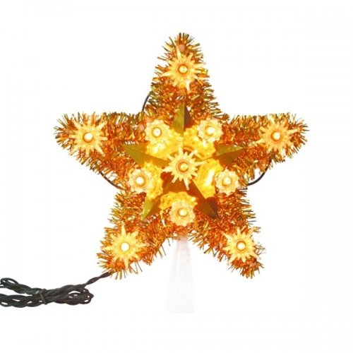 Illuminated Christmas Tree Topper - 11 Amber Mini Lights....