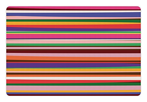 Lunarable Striped Pet Mat for Food and Water, Gradient Artistic Optical Nostalgic Concept Shapes Funky Vintage Design Print, Rectangle Non-Slip Rubber Mat for Dogs and Cats, Violet Orange - Concepts Striped Rug