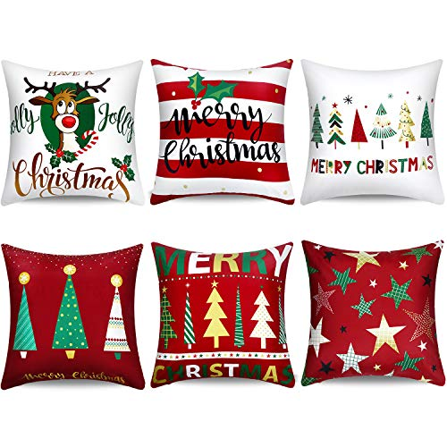 Boao 6 Pieces Christmas Pillow Cover Merry Christmas Throw Cushion Covers Tree Reindeer Star Pillow Case for Party Home Decoration, 18 x 18 Inch (Set 1) (Reindeer Cushion)
