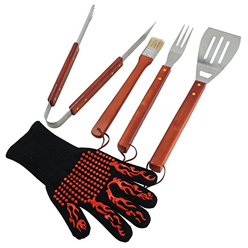 ChasBete BBQ Grilling Tools Set 5-Piece Stainless Steel Tools with Wood Handles and Grill Glove Barbecue Grilling Utensils Set - Spatula,Tongs,Fork,Basting Brush and Glove