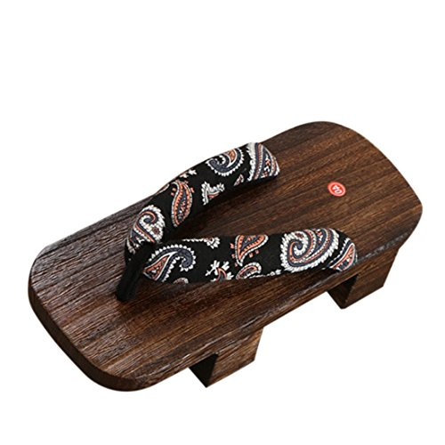 Jiyaru Women's Japanese Style Wood Geta Sandal High Heel Clog Flip Flop #2